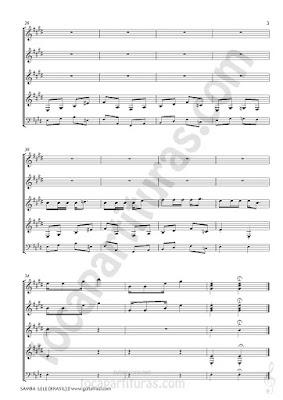 3   Partitura de 4 guitarras de Samba Lee Popular de Brasil Cuarteto de Guitarra con Partitura de Bajo Quartet Sheet Music for guitars Sheet music for guitar bass too