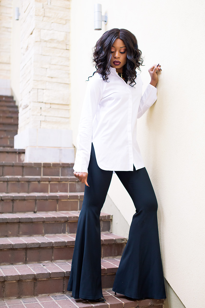 wide flare trouser, button down shirt, www.jadore-fashion.com