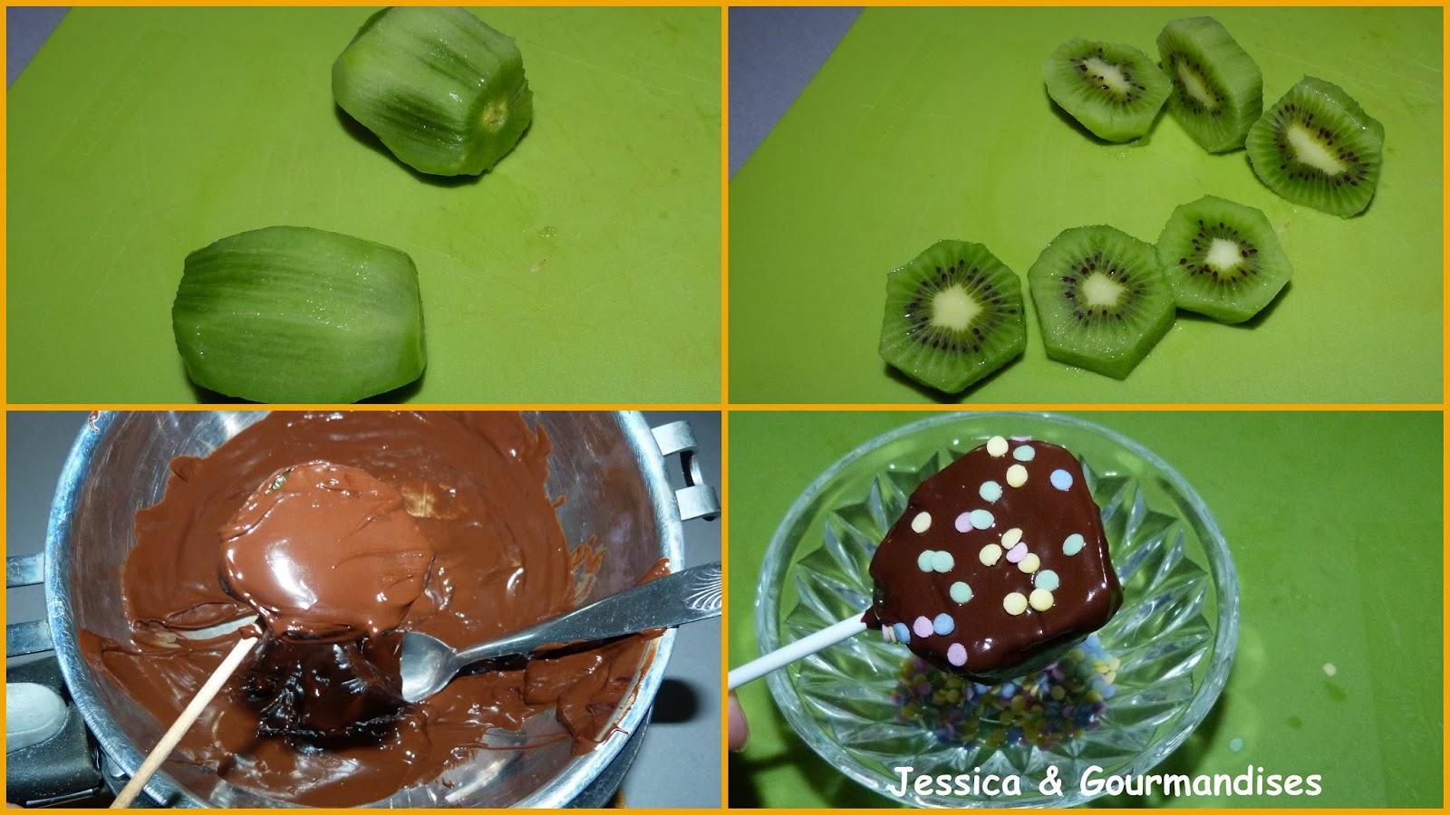 Jessica gourmandises sucette de kiwi au chocolat - Sucette au chocolat ...