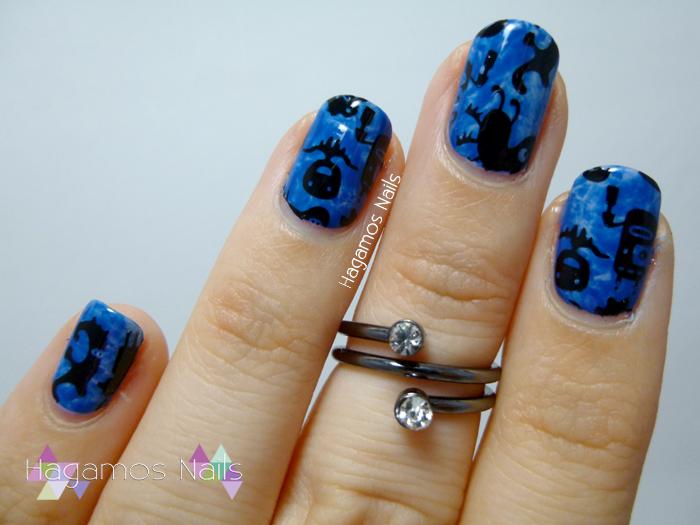 Nail Art Azul Monstruillos. Colaboración Konad España. #RetoColoresCosasdeChicas2. Hagamos Nails