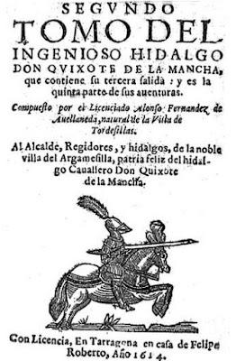 Segundo Tomo, tercera salida, quinta parte del Quijote. Avellaneda