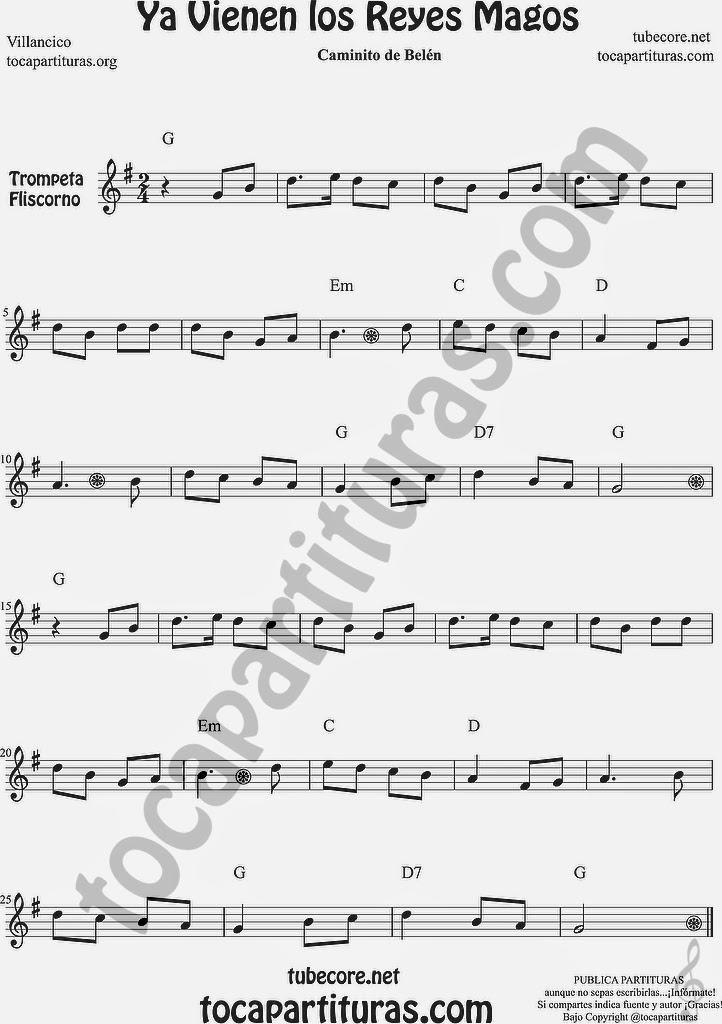 Ya vienen los Reyes Magos Partitura de Trompeta y Fliscorno Sheet Music for Trumpet and Flugelhorn Music Scores