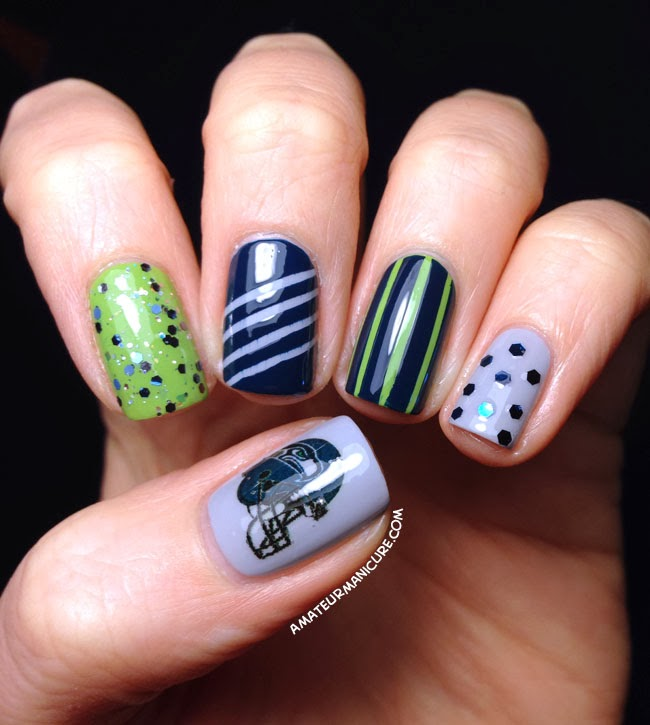 Amateur Manicure : A Nail Art Blog: Seattle Seahawks Nail Art