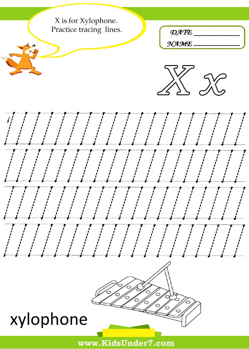 kids under 7 letter x worksheets