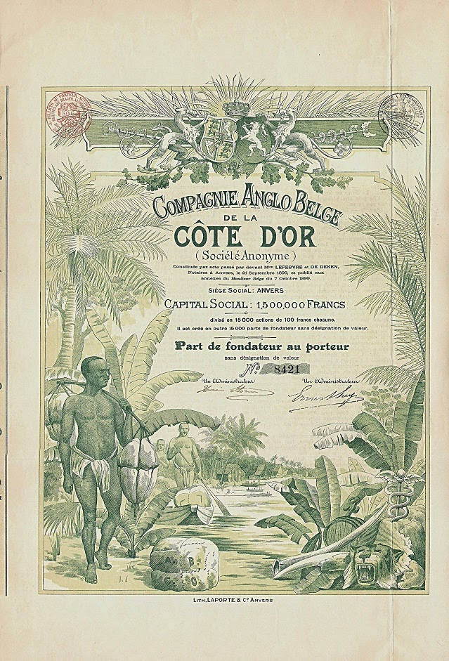 Founder's share of the Compagnie Anglo-Belge de la Côte D'Or 1899