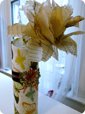 paper flowers, flowers from sewing pattern, DIY Flowers