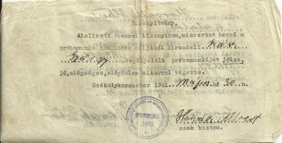 Szász György jeles próbavizsga Horváth Albertnél.