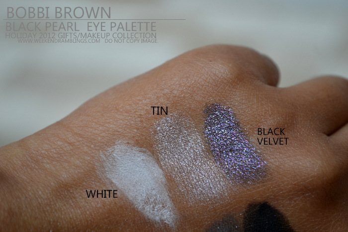 Bobbi Brown Black Pearl Eyeshadow Palette Holiday Makeup 2012 Collection Gifts Darker Indian skin Beauty blog Swatches White Tin metallic Velvet Sparkle
