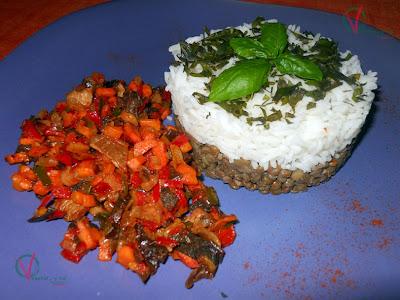 Ensalada templada de lentejas y arroz.