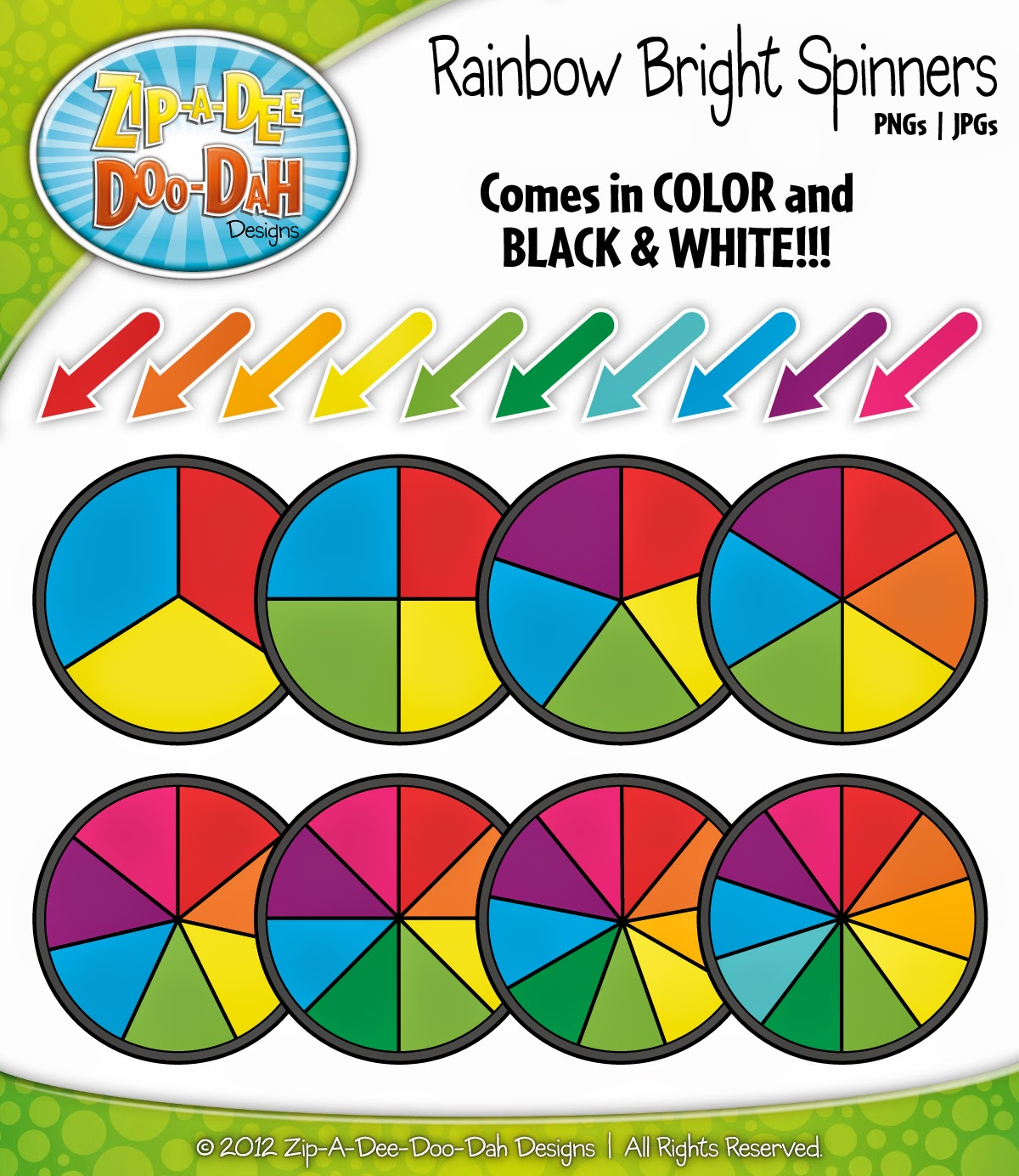 http://www.teacherspayteachers.com/Product/Rainbow-Bright-Spinners-Clipart-Mega-Set-Over-40-Graphics-549900