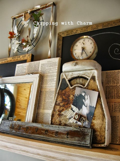 Chipping with Charm: Fall Mantel 2013...http://chippingwithcharm.blogspot.com/