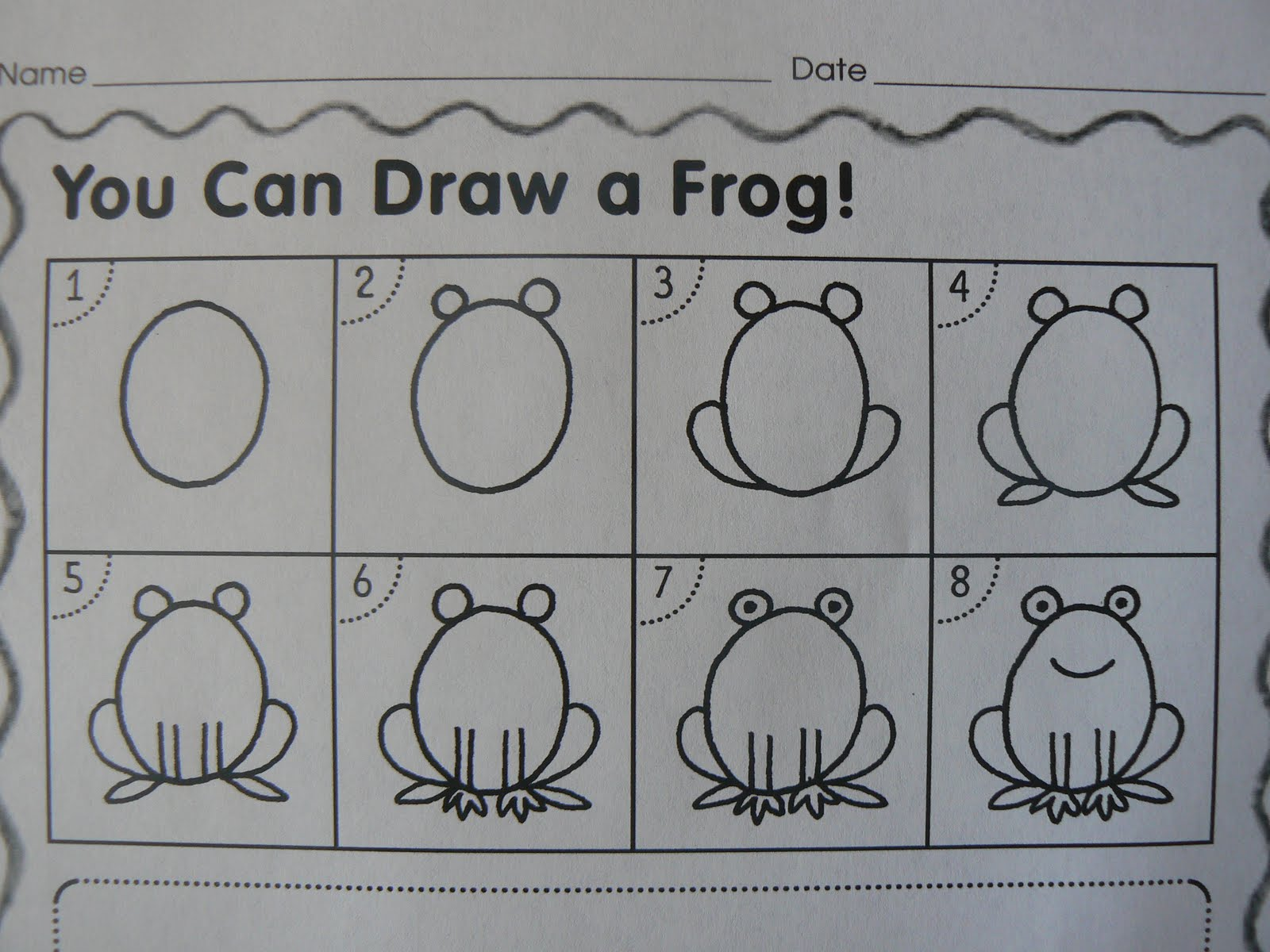 we used this to help us draw our frogs and then we water colored them