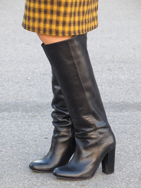 plaid pencil skirt and knee boots