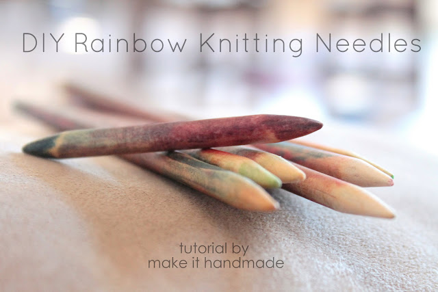 A tutorial on DIY colored knitting needles; inspired by KnitPick's Harmony Needles. This is a great craft to do with the kids for Mother's Day, Grandparents Day, or any day!