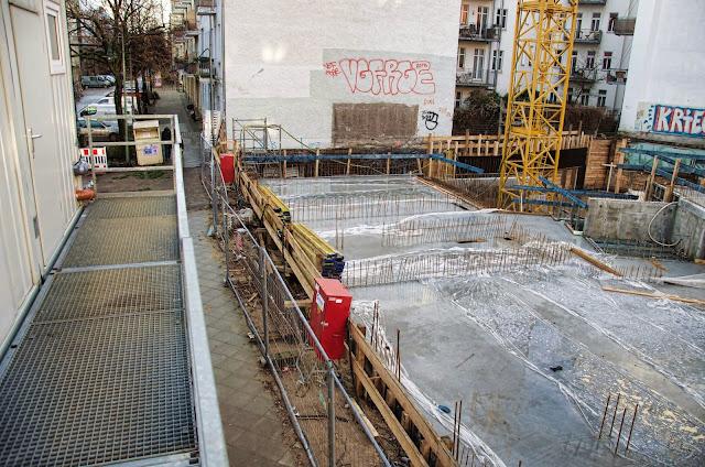 Baustelle Dolziger Bogen, Pettenkoferstraße / Dolziger Straße, 10247 Berlin, 07.01.2014