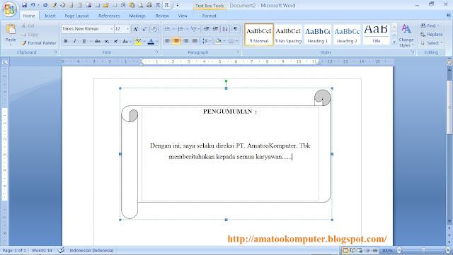 Menambahkan teks pada shapes, microsoft word 2007, word 2007, tips word, tips komputer, office 2