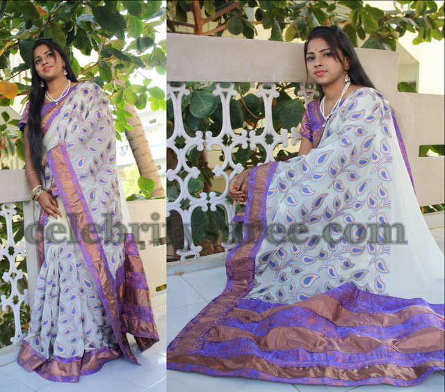 Leaf Pattern Georgette Saree