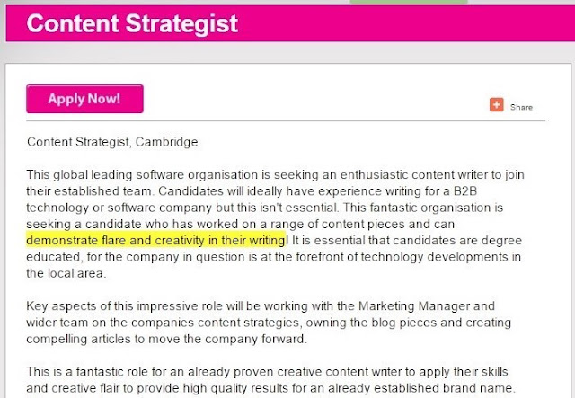 Content strategist job advert with spelling errors