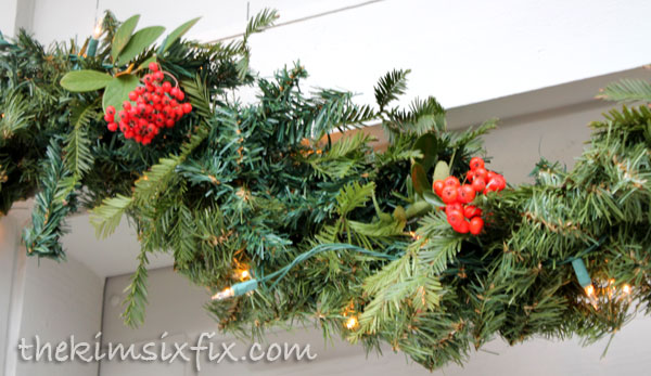 Realistic evergreen garland