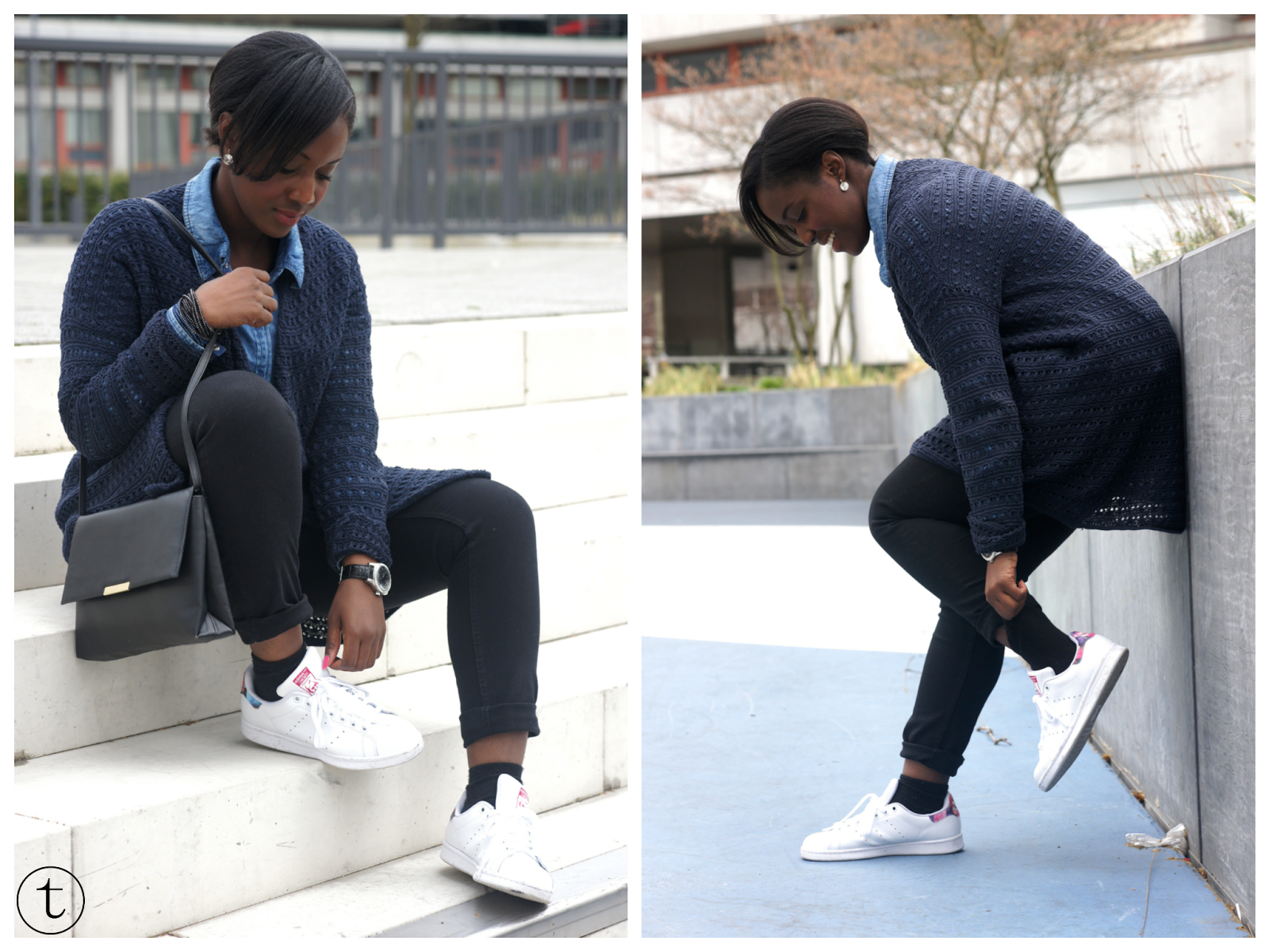 wearing adidas stan smith flowers sneakers outfit
