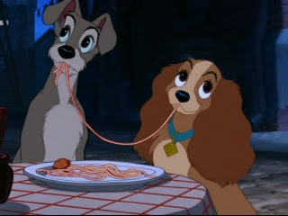 Dinsey Movie With Two Dogs Eating Spaghetti