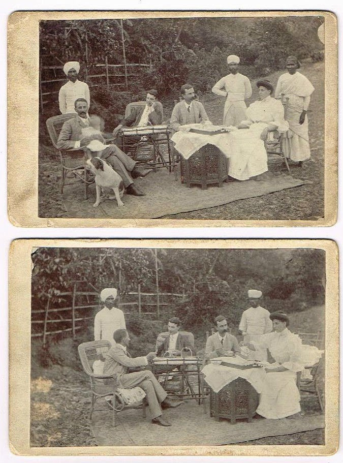 British People at Tea Table with Servants and Dog - c1890's