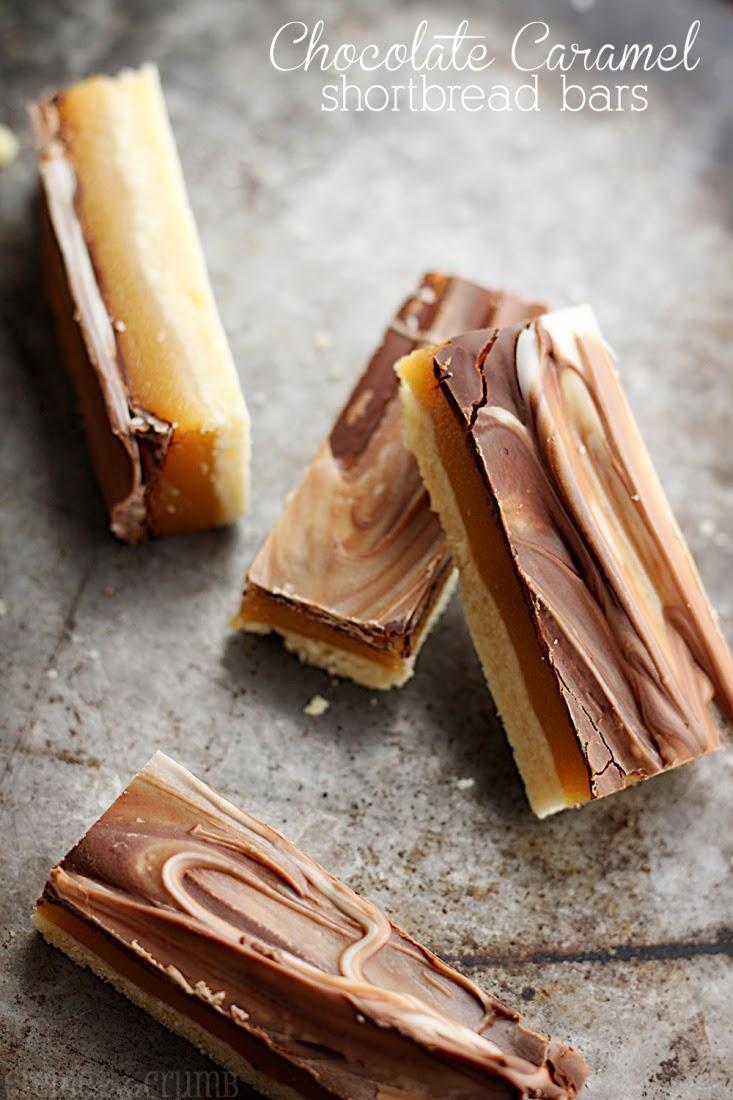 Chocolate Caramel Shortbread Bars from Creme de la Crumb