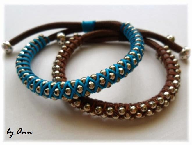 bransoletka łańcuszek kulkowy sznurek woskowany niebieski brąz