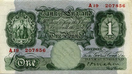 A £1 note from the 1930s.  (From Bank of England website)