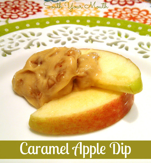 Caramel Apple Dip with cream cheese caramel and toffee bits!