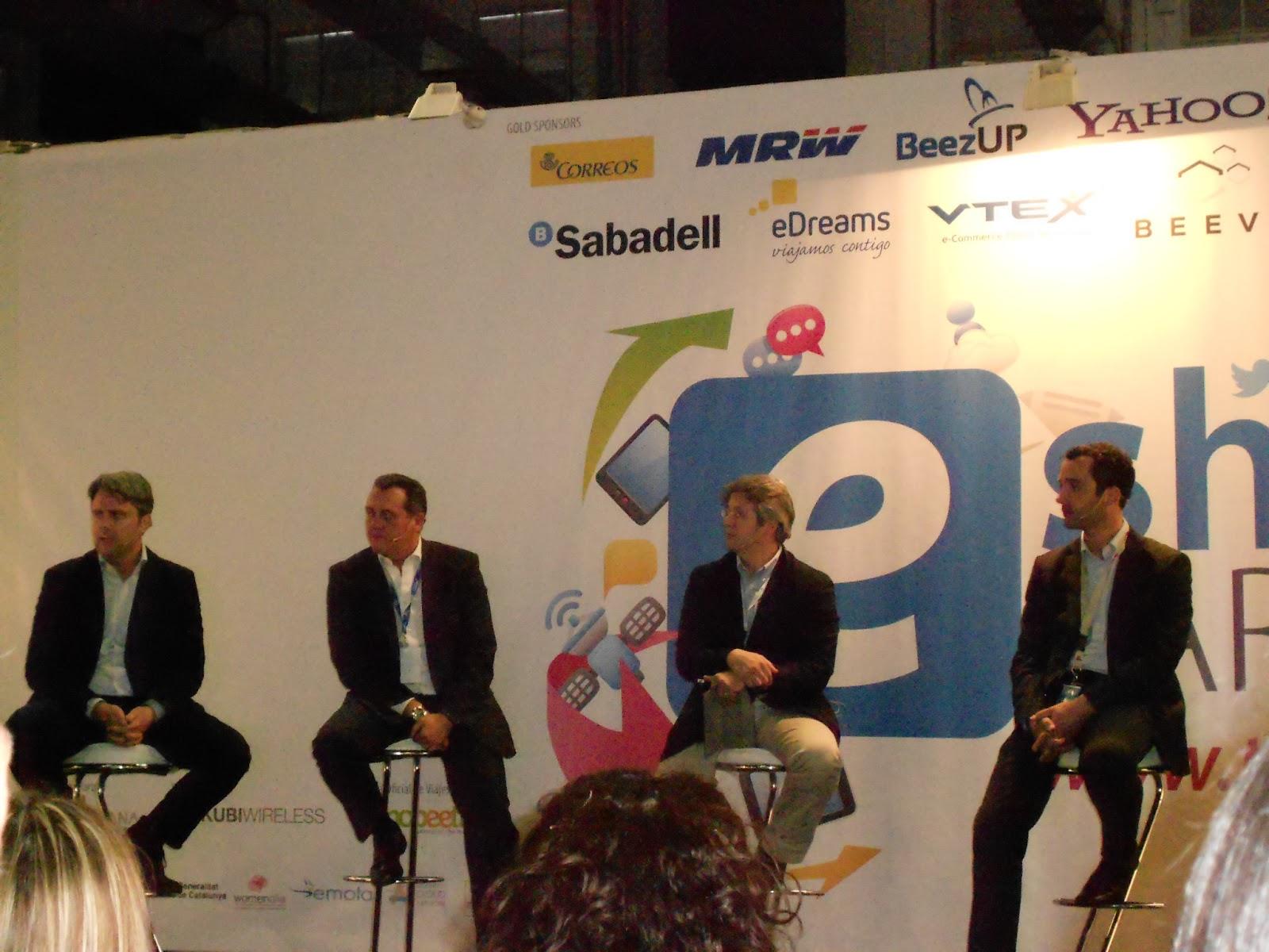 Imagen Foro de Marketing Online eShow Barcelona 2013 - De izquierda a derecha: Henri-Noel Bouvet, Alfredo Vázquez, Jorge González y Jean Baptiste Boubault