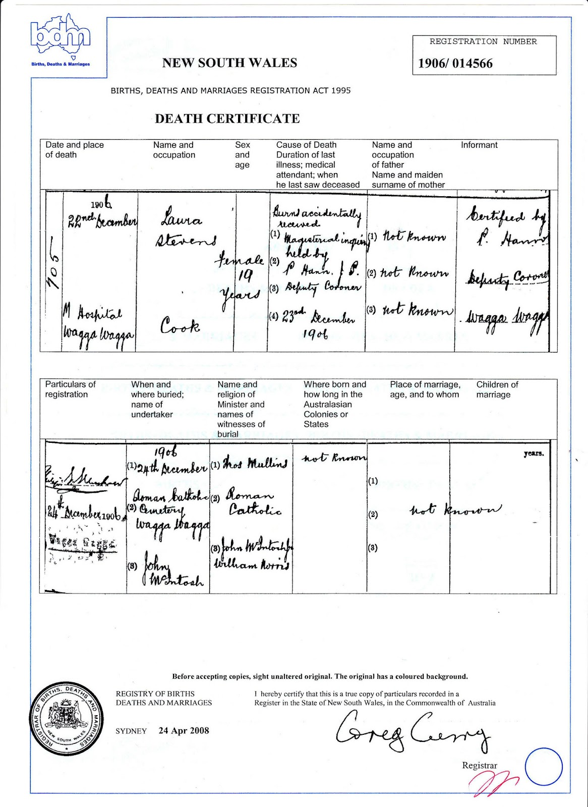 Australia death certificate sample choice image certificate australian roots and spreading branches may 2013 nsw bdm death certificate for laura stevens yadclub choice aiddatafo Image collections