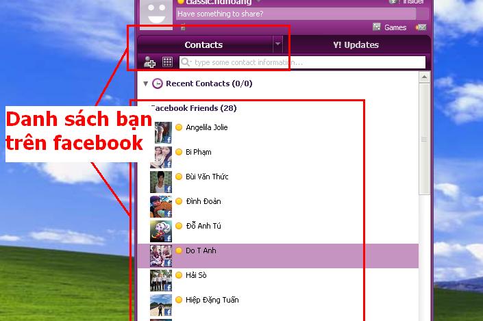 Danh sách bạn facebook trên Yahoo Messenger