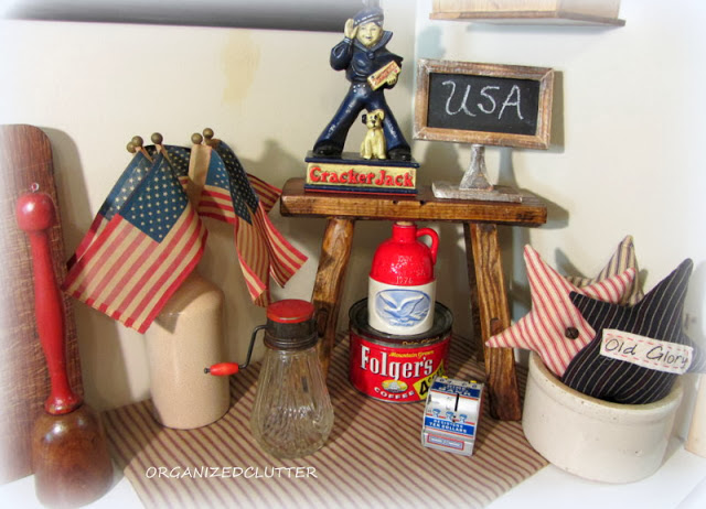 Kitchen 4th of July Vignette www.organizedclutterqueen.blogspot.com
