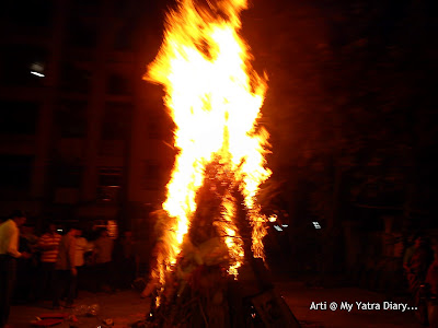 Holika Dahan Bonfire completely lit up on the festival of Holi