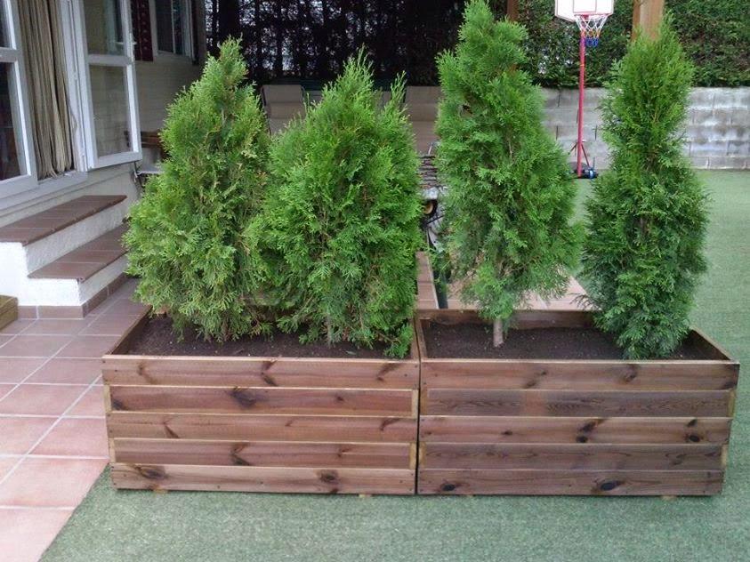 Jardineras con setos for Jardineras de madera para exterior