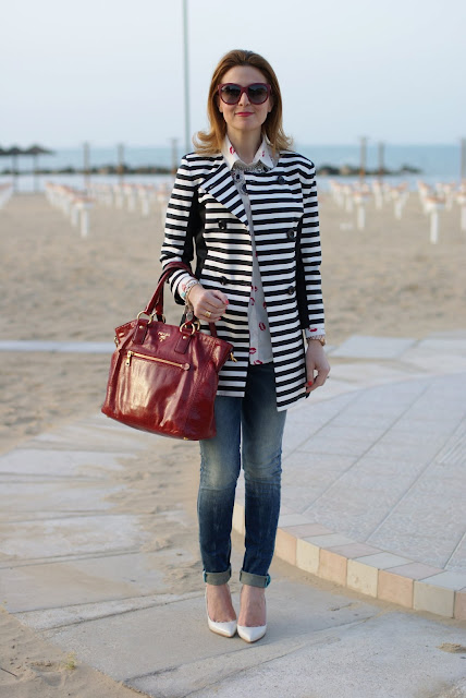 Striped coat, Prada bag, Fabi shoes, Fashion and Cookies