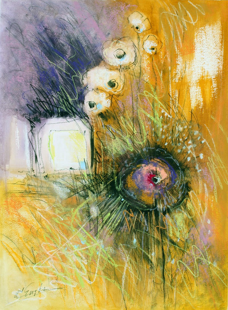 carol engles art  fantasy flowers  charcoal  abstract floral painting by carol engles