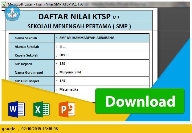 APLIKASI MEMBUAT RAPORT serta DAFTAR NILAI SMP KTSP 2015-2016 File Edukasi