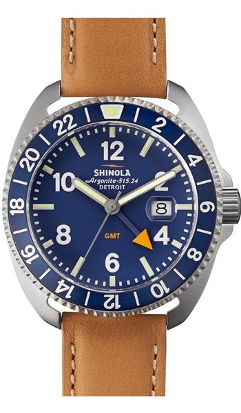 Shinola 'Rambler' Dual Time Leather Strap Watch, 44mm