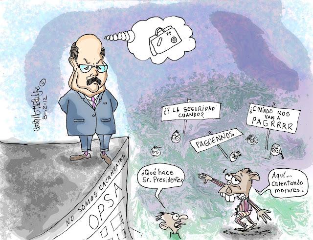 Caricatura de Pepe Lobo preparándose para el eventual golpe de estado