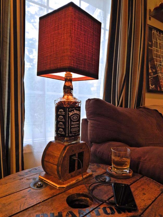 19 fun diy ideas inspired by jack daniels do it yourself ideas and multi use upcycled jack daniels bottle lamp idea aloadofball Images