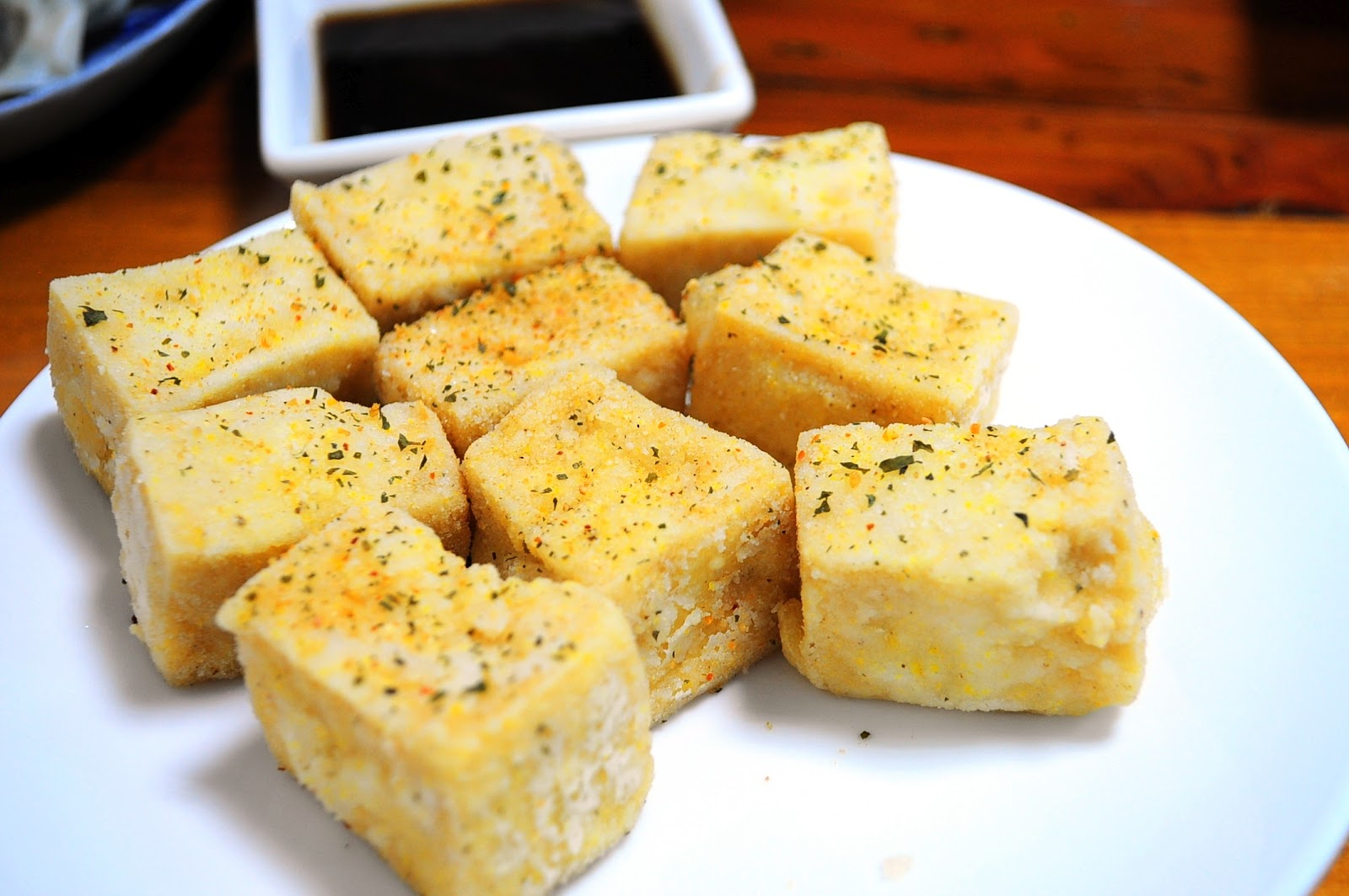 ... Fried Tofu - deep fried tofu squares in thin crisp coating with silky