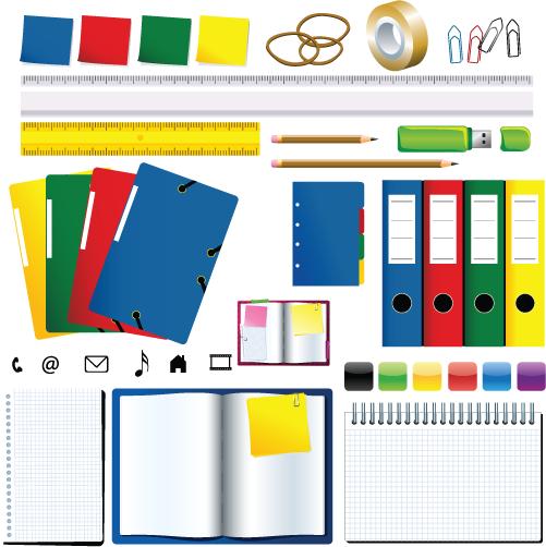 diverso material de oficina en color