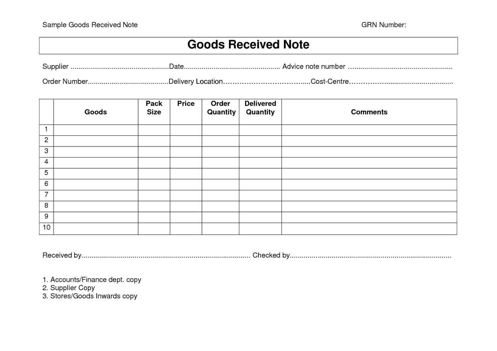 material receipt form template