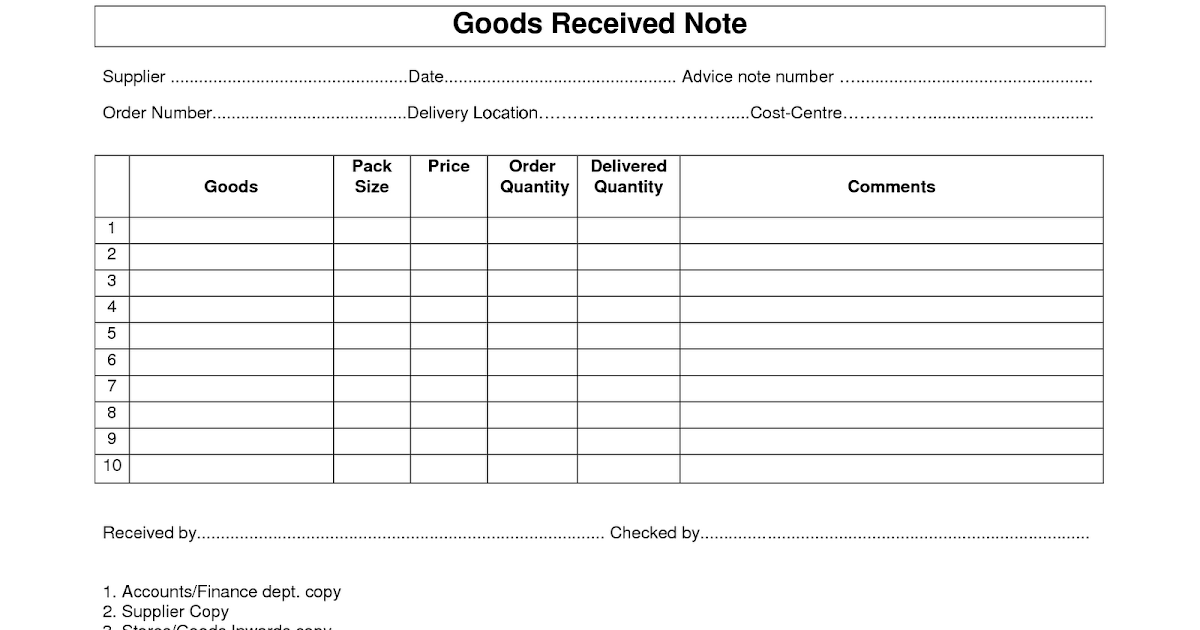 Goods Receipt Note Grn Format Template