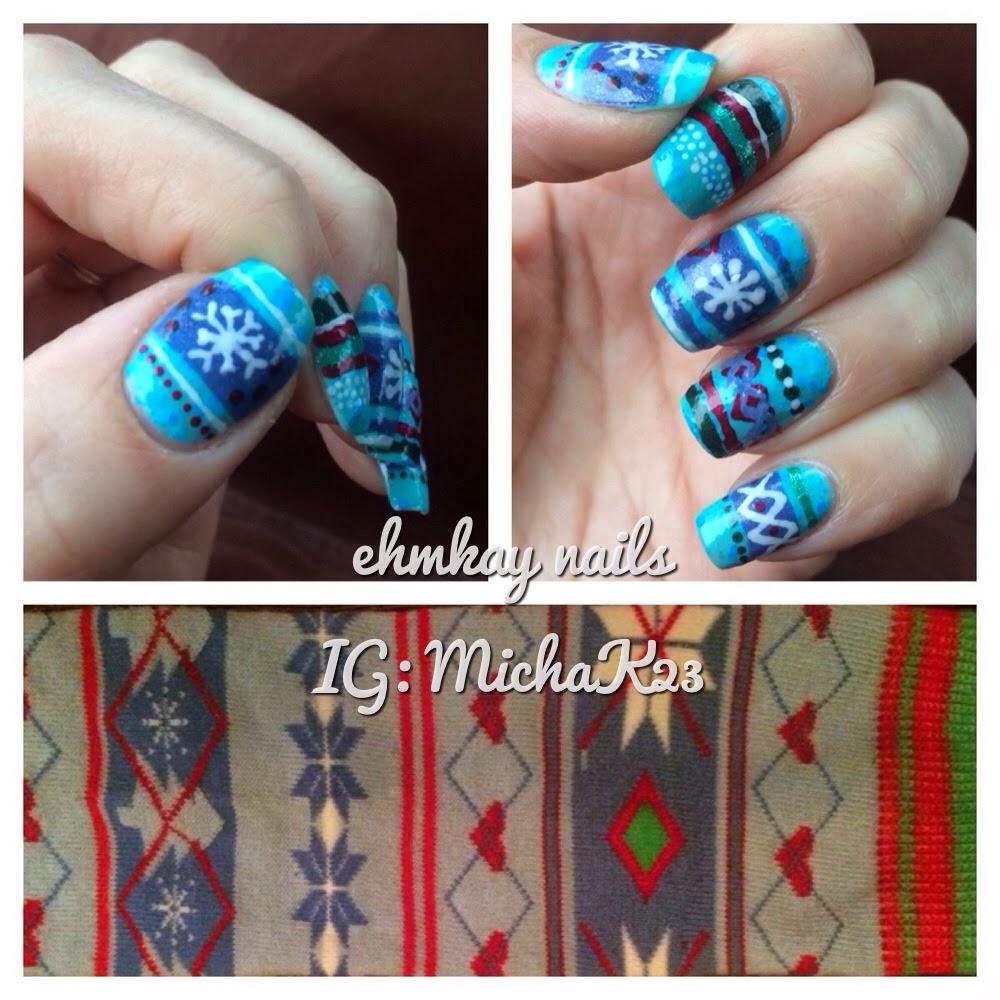 Winter Nail Art: Ehmkay Nails: Winter Sweater (or Sock) Nail Art