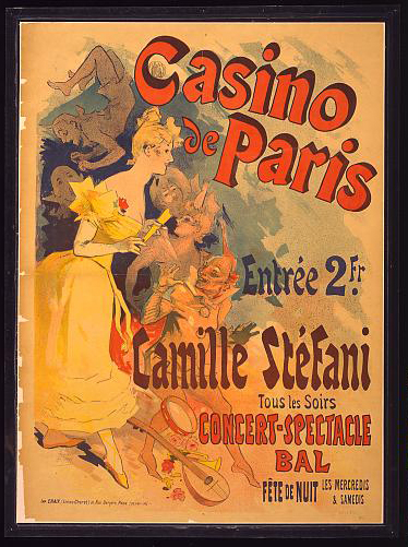 advertising, classic posters, food, free download, french poster, graphic design, retro prints, vintage, vintage posters, Casino de Paris, Camille Stefani - Vintage French Casino Poster