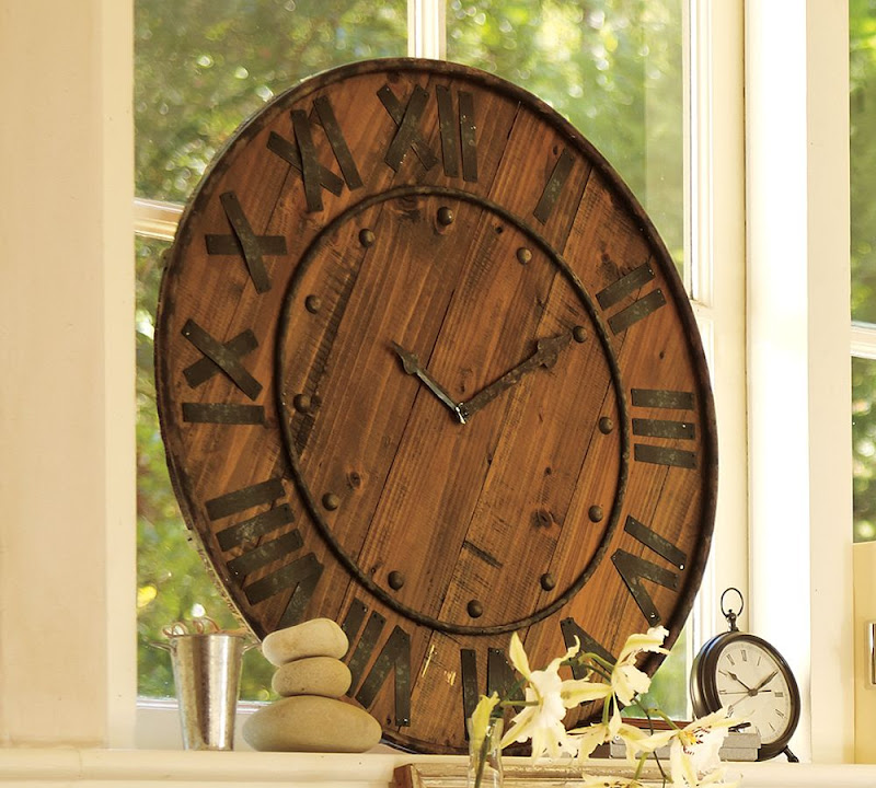 Pottery Barn Rustic Wood Wall Clock