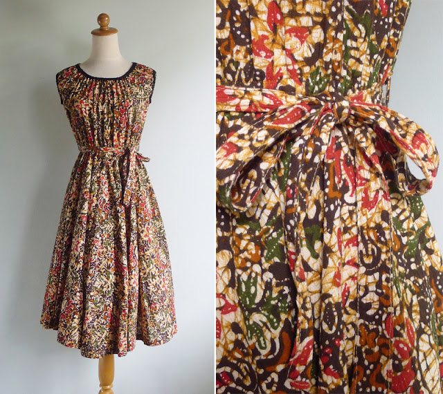 vintage 1970's bohemian tribal print dress